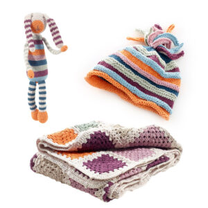 Organic baby gift bundle (purple) by Pebble Toys on the Rosette Fair Trade online store