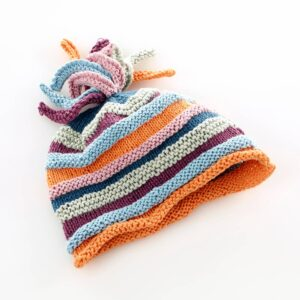 Organic baby hat (stripey multi) by Pebble Toys on the Rosette Fair Trade online store