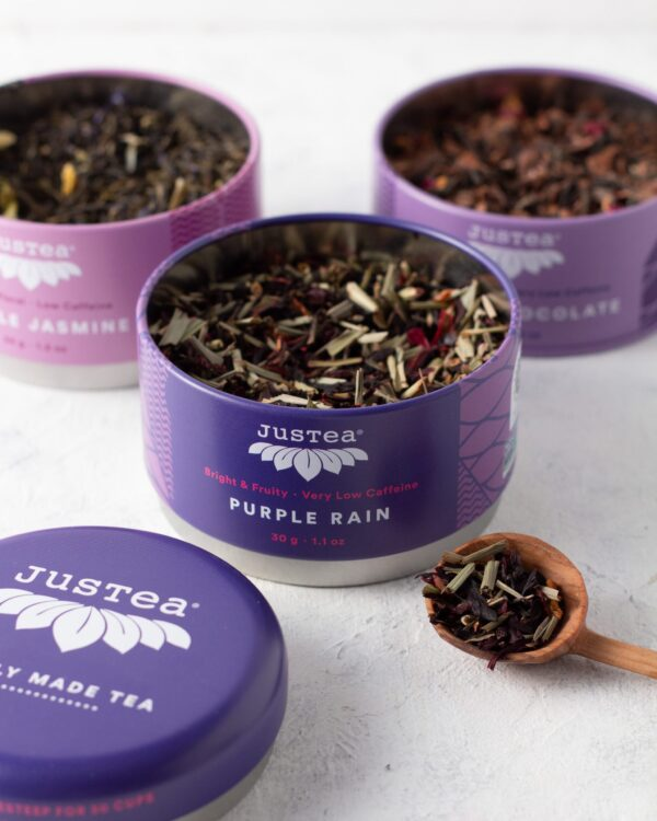 Purple Tea Trio (Purple Rain, Purple Jasmine, Purple Chocolate) by JusTea on Rosette Fair Trade online store
