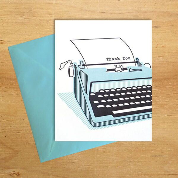 Typewriter handmade thank you card by Good Paper on Rosette Fair Trade online store